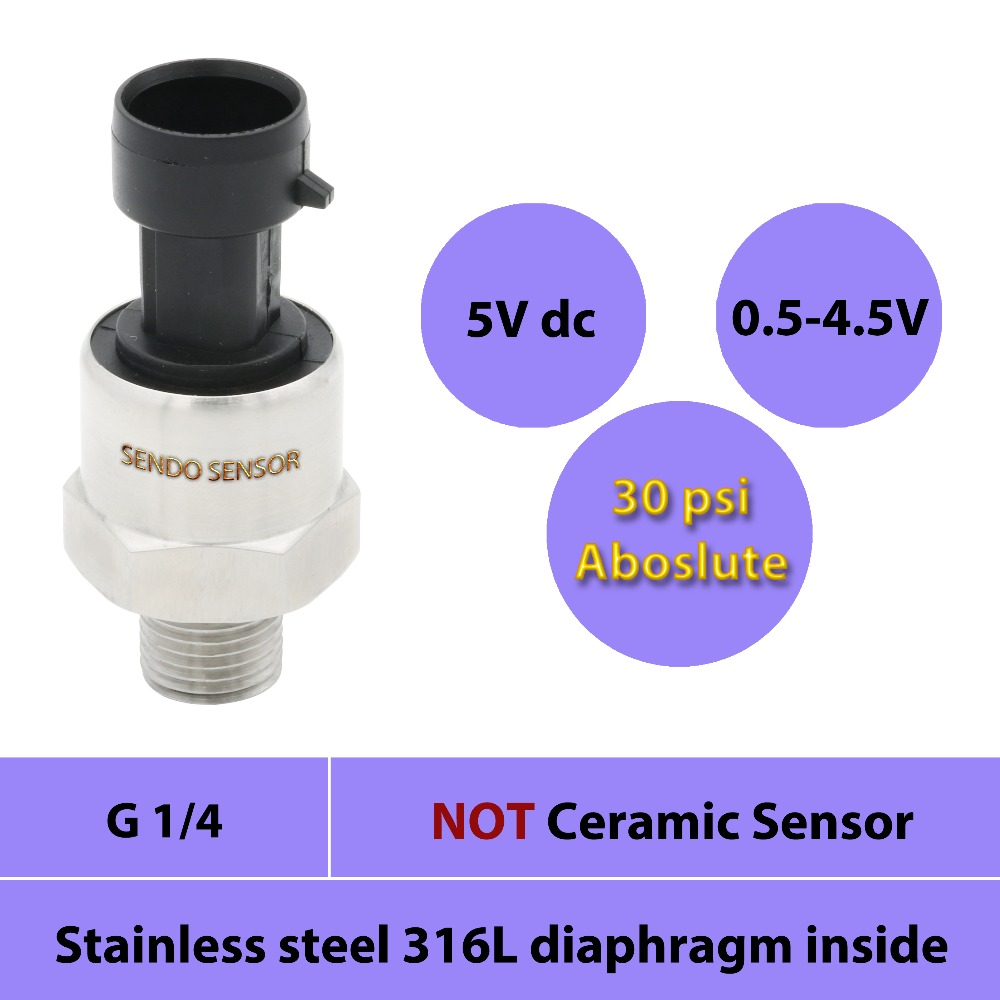 Absolute Sensor Pressure 200kpa, 30psi, 2bar, 0.5 4.5V Output, Stainless Steel 316L Diaphragm ,G 1 4 In Male Connector, 5V Dc