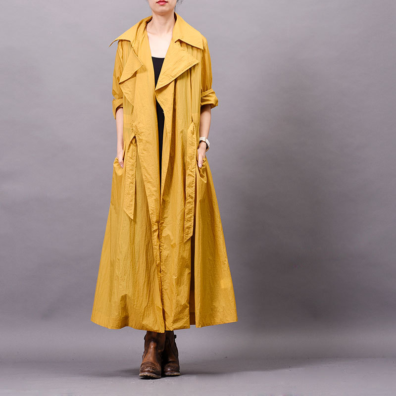 Johnature Women Solid Color Trench Turn down Collar Bandage Coats Fashion 2019 Spring New Loose Pockets