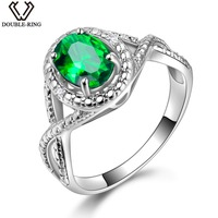 DOUBLE R 925 Sterling Silver Sapphire Ring Blue Topaz Zircon Created Oval 1.2ct Emerald Ruby Gemstone Engagement Rings for Women