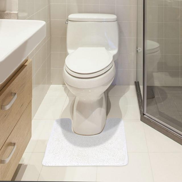 U Shaped Soft Plush Bathroom Rug Non Slip Water Absorbent Shaggy Shower Mat  Bathmat
