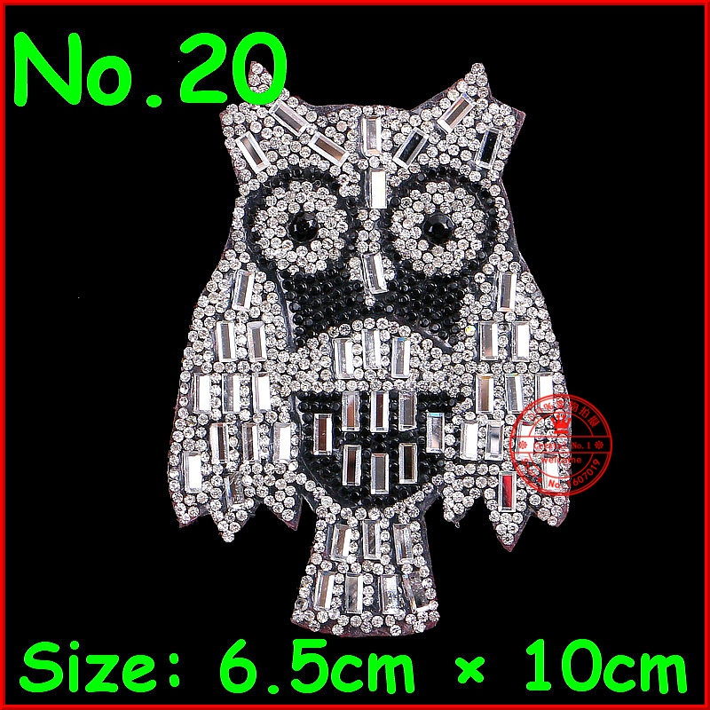 1 pcs lot Owl Patch Clear Crystal Motif Hot Fix Iron On Rhinestones Motifs Patches For Children Women T Shirt Clothing Wedding in Rhinestones from Home Garden