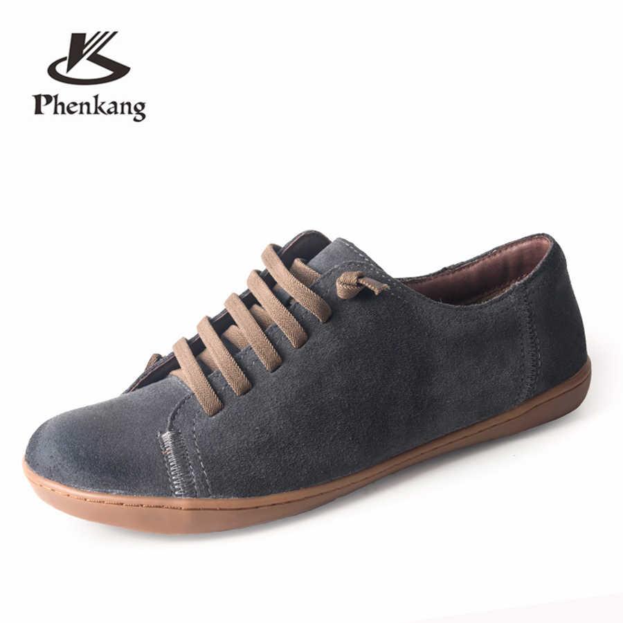 Zapatos casuales para hombre, zapatillas planas de cuero de gamuza genuina, zapatos planos de marca de lujo, mocasines, mocasines, calzado para hombre, 2019