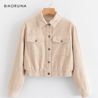 BIAORUINA Women Solid Vintage Corduroy Jacket Coat Turn down Collar Female Loose Thick Casual Jacket All match Warm Coats