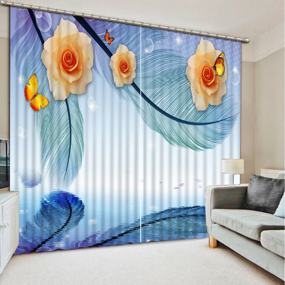 customize kitchen curtains living room bedroom Feather flower japanese window curtains printing blackout curtains    customize kitchen curtains living room bedroom Feather flower japanese window curtains printing blackout curtains