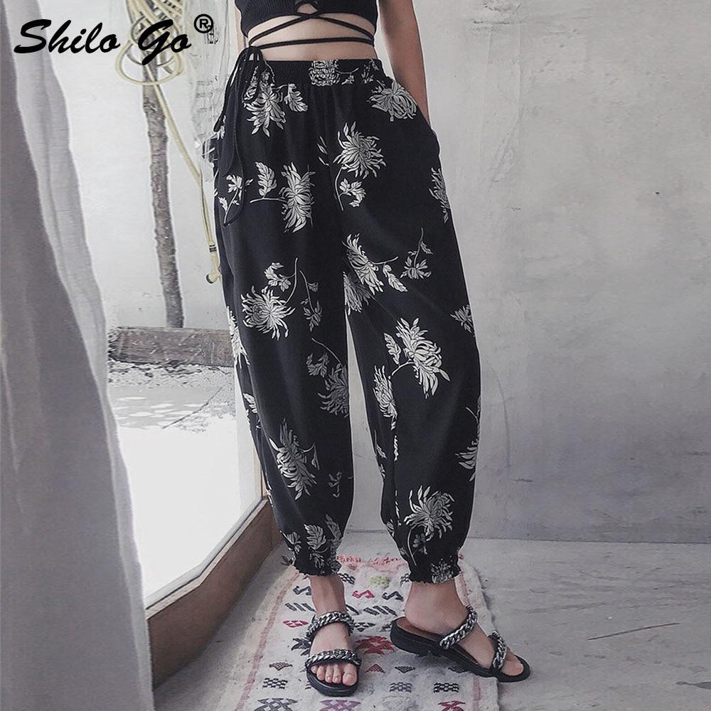 Floral Print high waist Harem   pants   Women trousers Chiffon casual   pants   female Streetwear summer ladies   pants     capris