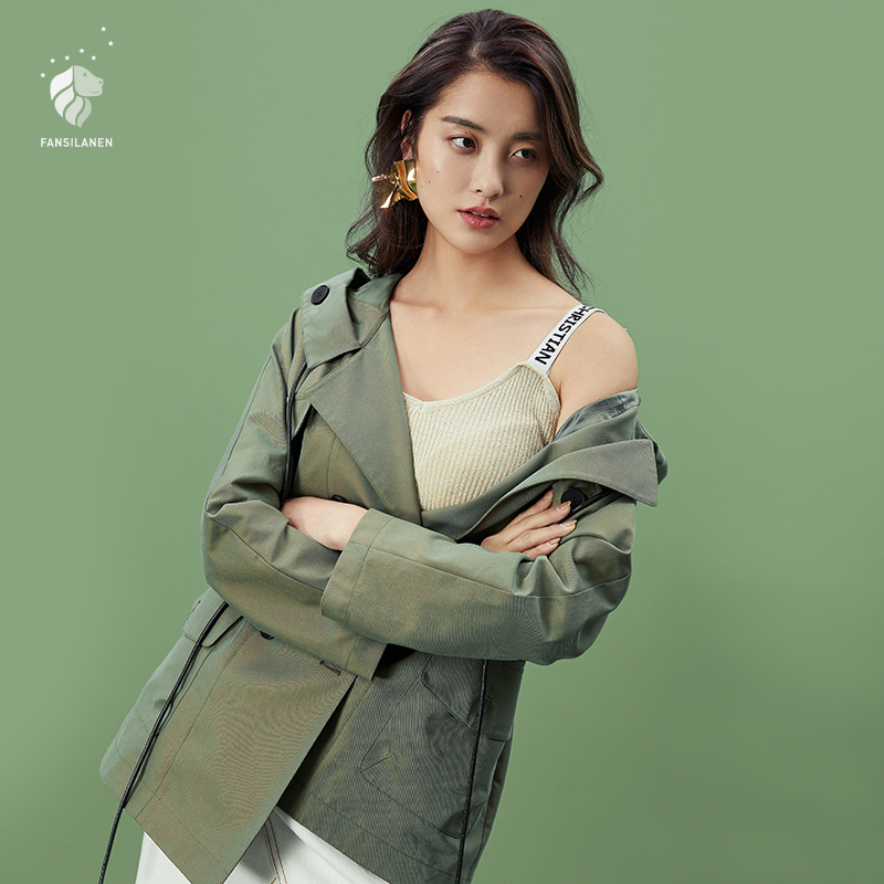FANSILANEN 2019 Fashion Autumn/Spring Denim   Trench   Coat For Women Feminine Female Coat Long Loose Hooded Solid Vintage Z80249