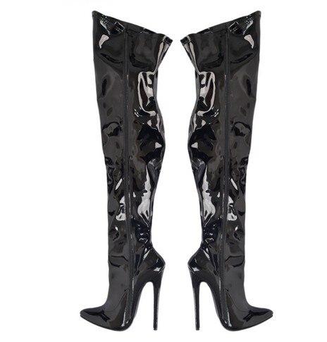 ФОТО 16cm  side zip  sexy ultrahigh-heeled patent leather boots big size 7-13 -black