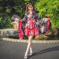 New style Japanese KimonoVintage Original Cherry blossom kimono Tradition Silk Yukata Dress with Obi Sexy costumes