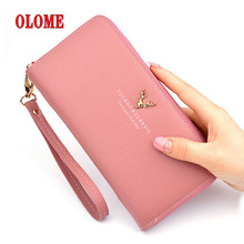 цены Brand Designer Leather Phone Wallets Women Purses Long Zipper Red Coin Wallet Female Money Bag Credit Card Holder Clutch Wallets