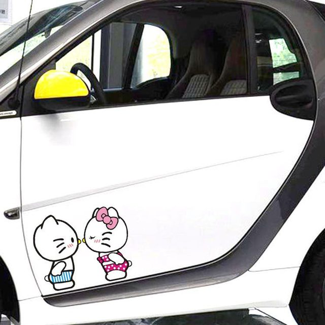 Aliauto 2 x lovely hello kitty kiss car side door sticker decal for smart golf 4
