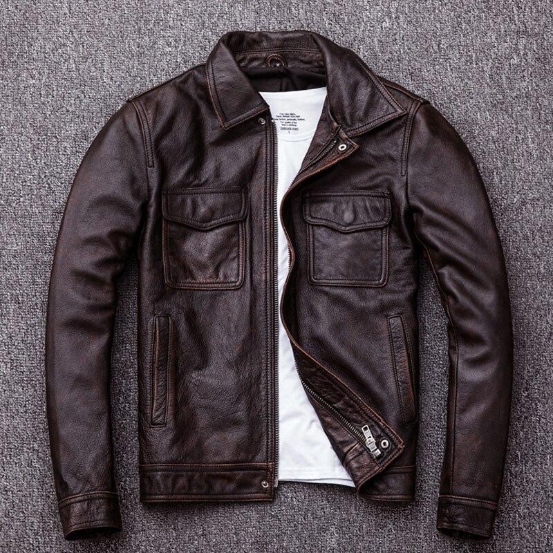 HTB11yeElBjTBKNjSZFDq6zVgVXaP MAPLESTEED Brand Vintage Leather Jacket Men 100% Cowhide Red Brown Black Natural Leather Jackets Men's Leather Coat Autumn M174