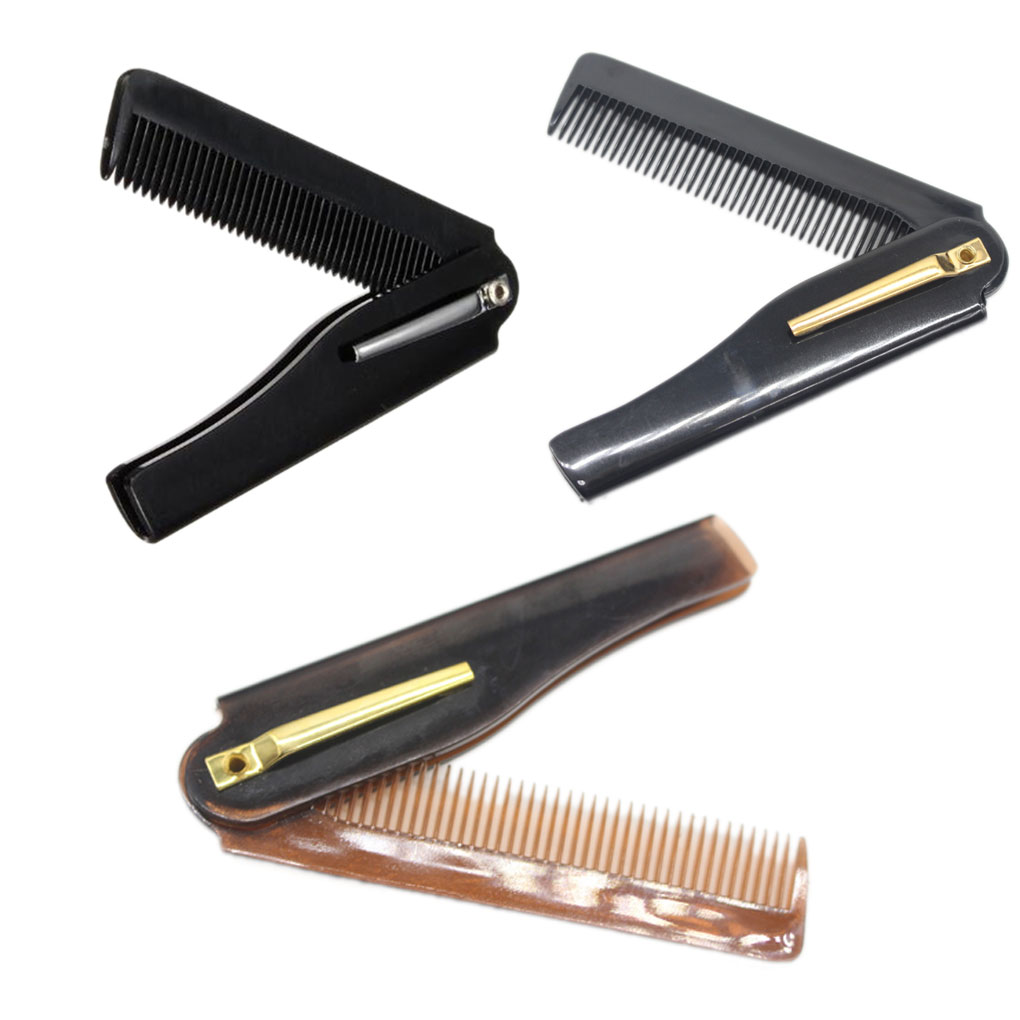Men Folding Pocket Clip Plastic Portable Head Beard Combs Bussiness Trip Travel Lightweight Comb