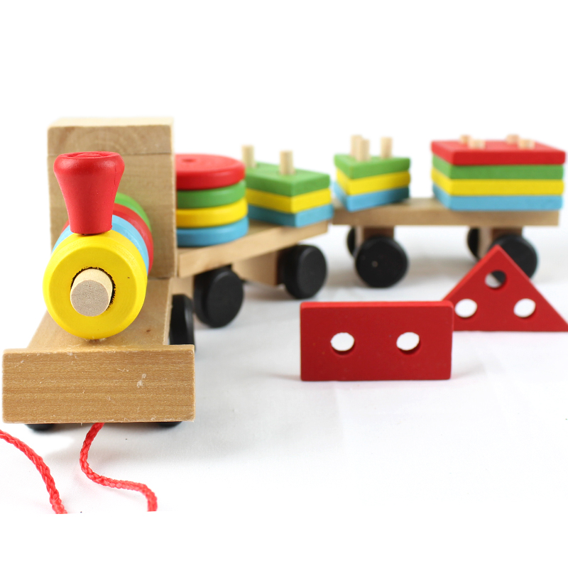 Free delivery factory price children's educational Three small trains toys, wooden blocks trains, kids Models Building Toy цена