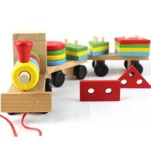 Бесплатная доставка цена по прейскуранту завода детские развивающие Три маленьких поездов игрушки, деревянные блоки поезда, дети Модели Здания Игрушка