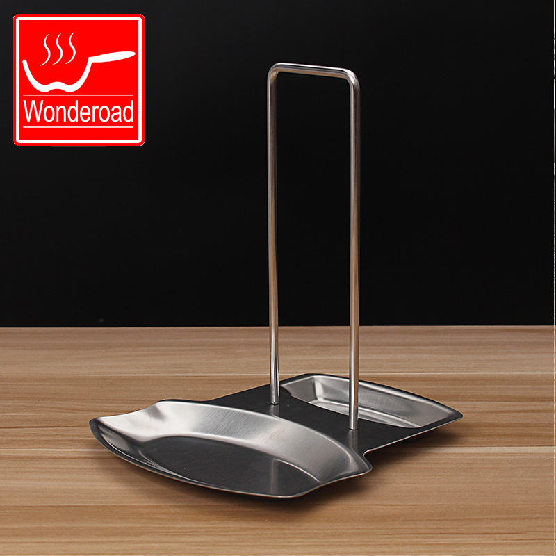 Stainless New Pan Stand Pot Cover Rack Lid Spoon Rest Holder Kitchen Tool BP