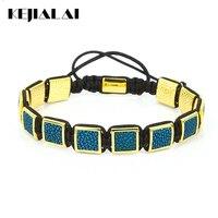 Fashion Stingray Leather Macrame Bracelets Men's Genuine Stingray Leather Square Bead Charm Bracelet for Men Luxury Style