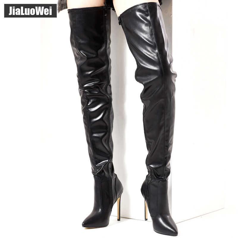 Jialuowei 12 CM Yüksek Ince Topuk Sivri Burun Çizmeler Kadın Diz üzerinde Uyluk Yüksek Çizmeler Seksi Fetiş Dans gece kulübü parti ayakkabıları