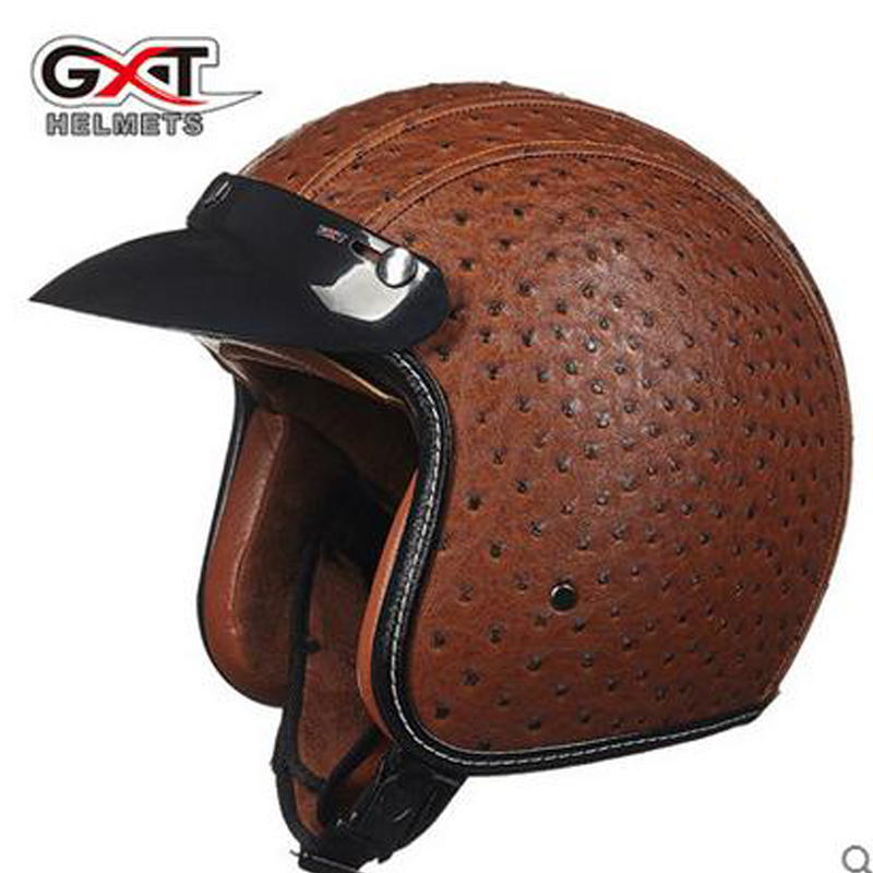 Pu Leather Harley Helmets motocross Chopper Bike helmet 3/4 open face vintage motorcycle helmet can add goggle mask