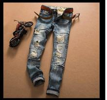 Hole retro jeans men wear middle waist straight stitching jeans wholesale price