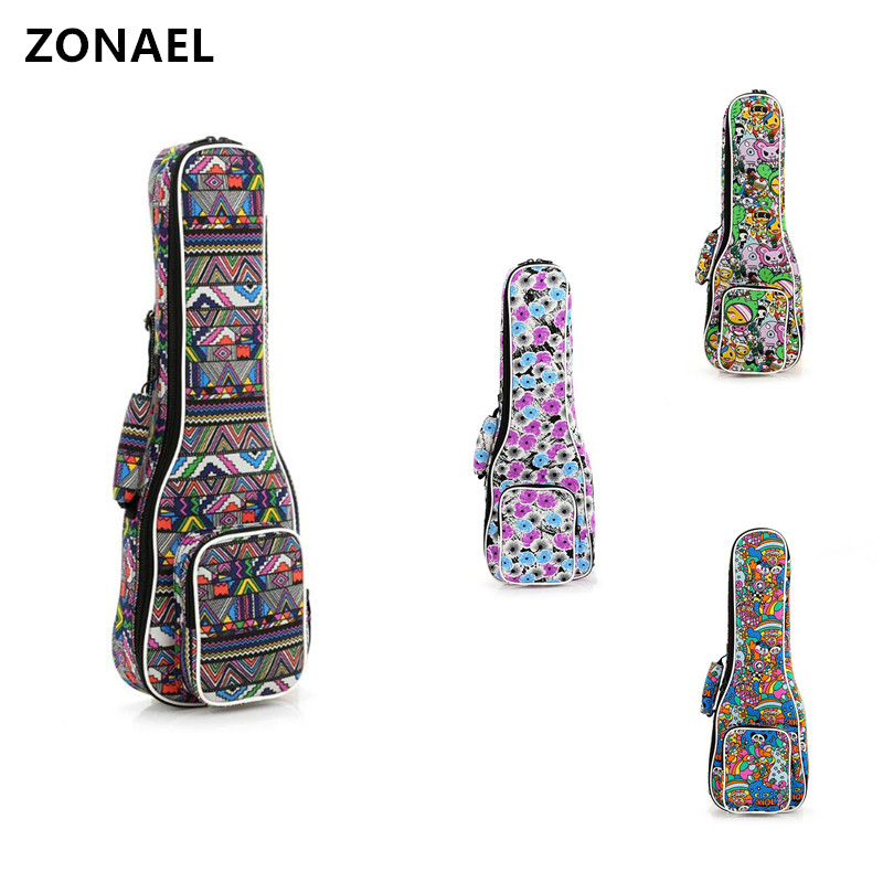 ZONAEL Guitar Parts & Accessories 21 23 26 Inch Double Strap Hand Folk Canvas Ukulele Carry Bag Cotton Padded Case For Ukulele amumu yellow nylon guitar strap for folk guitar police do not cross pattern guitar belt s008 16