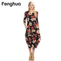 Fenghua Long Floral Print Dresses For Women 2018 Casual Fashion Three Quarter Irregular Dress Female Vestidos