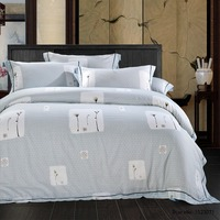 TUTUBIRD Classical White Floral Luxury Soft Tencel Satin Silk Feeling Bedding Sets Quality Bedlinen Sheets Boho