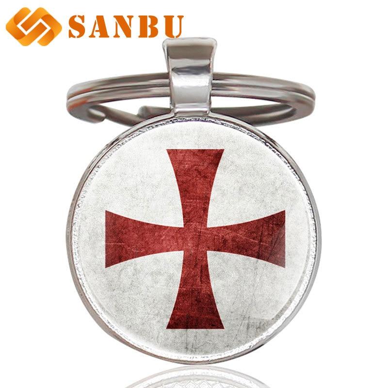 Antique Crusader Flag Cross Glass Cabochon Key Chains Vintage Men Women Cross Pendant Key Rings