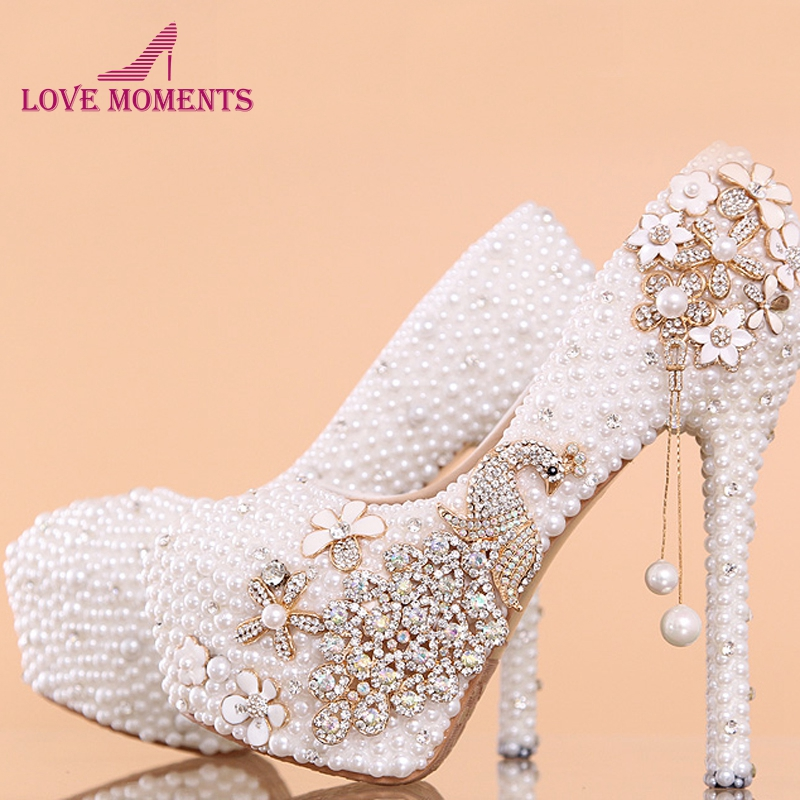 Nouveau 14cm Femme Lady Rond 14 Bout Pompes Mariée De white White 12cm Mariage Talon Haut Cm Stiletto Chaussures Miel Style Lune Heels Mode 10cm Heels Strass rSrqz