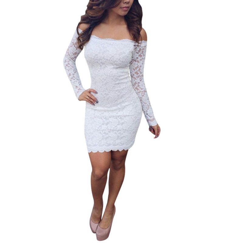 <font><b>2018</b></font> New Women Summer <font><b>off</b></font> <font><b>shoulder</b></font> <font><b>Bodycon</b></font> Dresses Long Sleeve Dress with lace Chic <font><b>Elegant</b></font> <font><b>Party</b></font> Dresses Y6 image