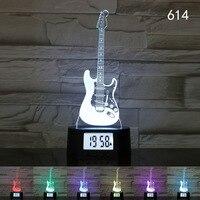 7 Colors 3D Illusion Calendar Clock Lamp Guitar Leavses Rugby Skull LED USB Night Light Home Bar Coffee Shop Decor Children Gift