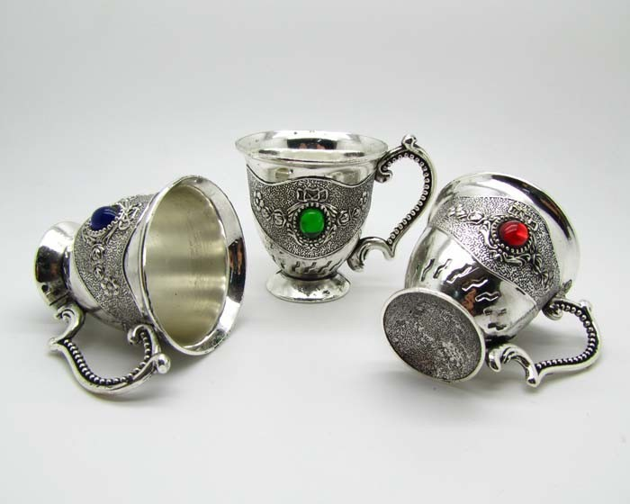 6pcs Message like color Decorated Old Handwork Tibet Silver Carving Flower Cup Set crafts Decoration real Tibetan Silver Brass in Figurines Miniatures from Home Garden