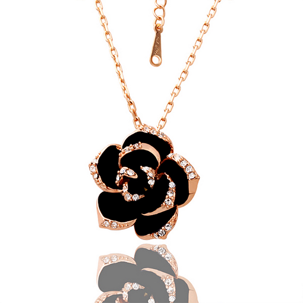 Hot sale wholesale elegant jewelry rose gold gp crystal black rose hot sale wholesale elegant jewelry rose gold gp crystal black rose flower shape pendantnecklace aloadofball