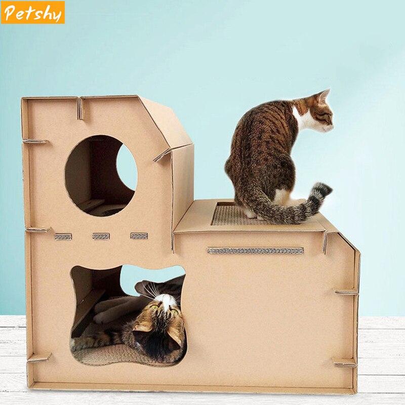 Pettimide Pet chat maison nid Double couche maison en papier ondulé chats tableau à gratter chaton détachable jouant lit de couchage grotte