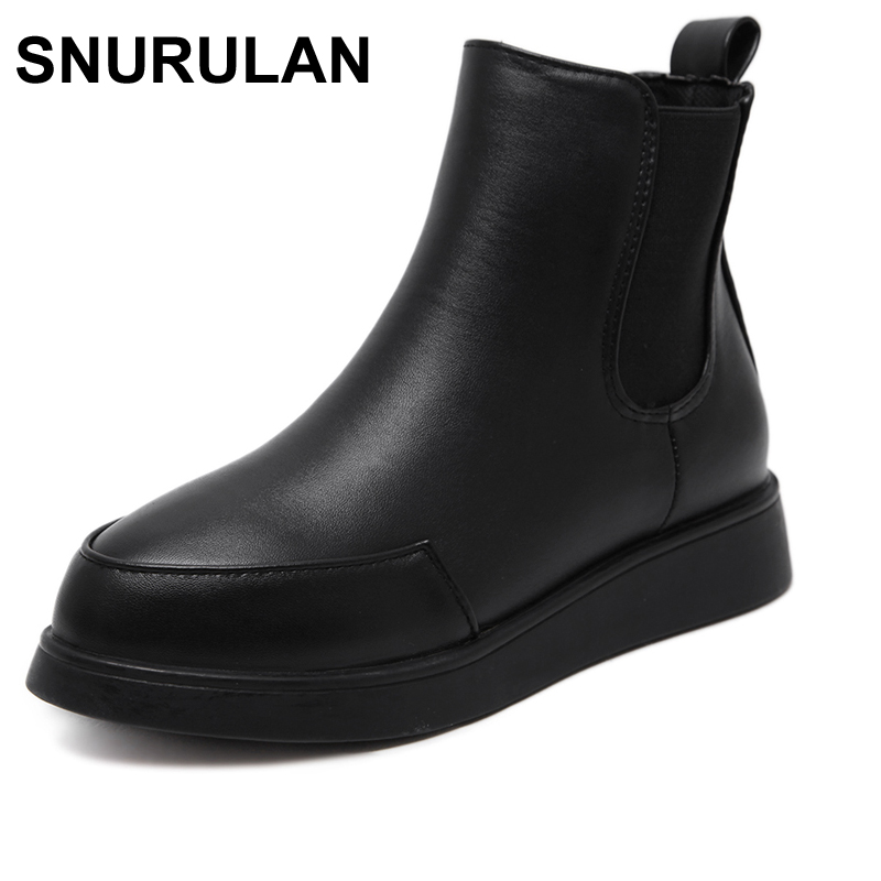 SNURULAN 2017 Chelsea Boots Women Black Fall Shoes New Brand Designer Pointed Toe Fashion Women Black Wedge Ankle Boots Nysiani
