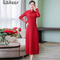 Элегантное красное черное длинное платье в китайском стиле 2019 летнее платье с длинными рукавами высокого качества с вышивкой Ципао в стиле