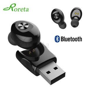 Image 1 - Roreta XG12 Bluetooth 5.0 אלחוטי אוזניות מיני דיבורית שיחת אוזניות עם מיקרופון סטריאו HIFI ספורט אוזניות עם USB מטען