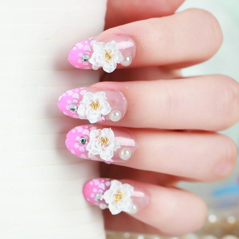 24pcs/box Pink White flower False Nails Art Acrylic French Fake Nail ...