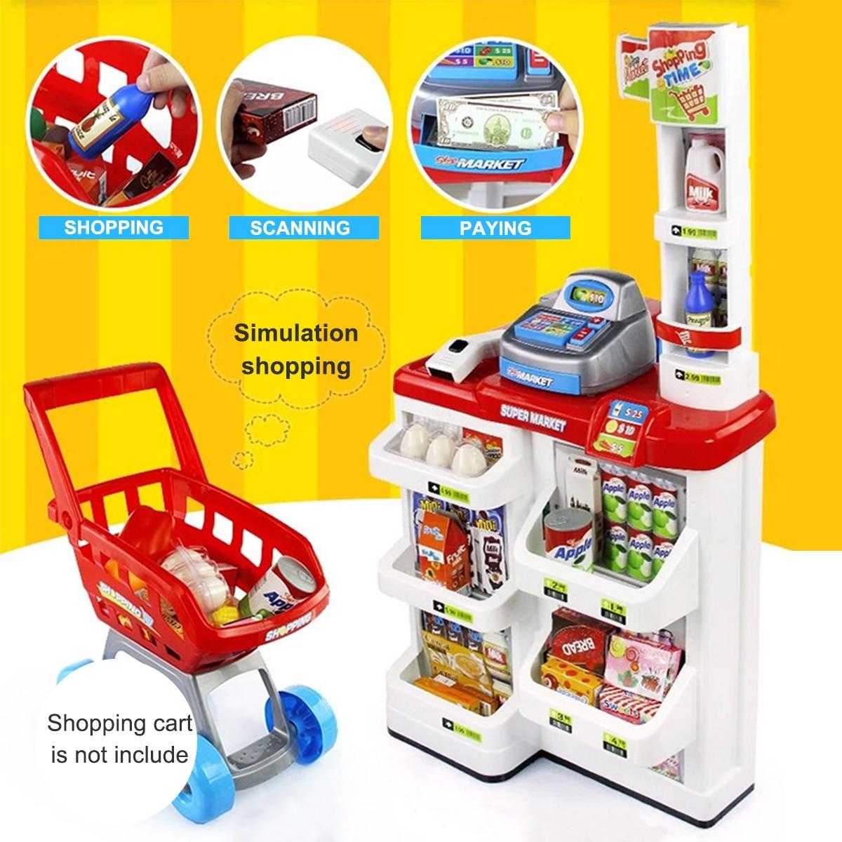 Giocattolo di simulazione Scena Casa di Lusso Per Bambini Carrello della Spesa Supermercato Checkout Macchina per La Scansione di Frutta D'argento