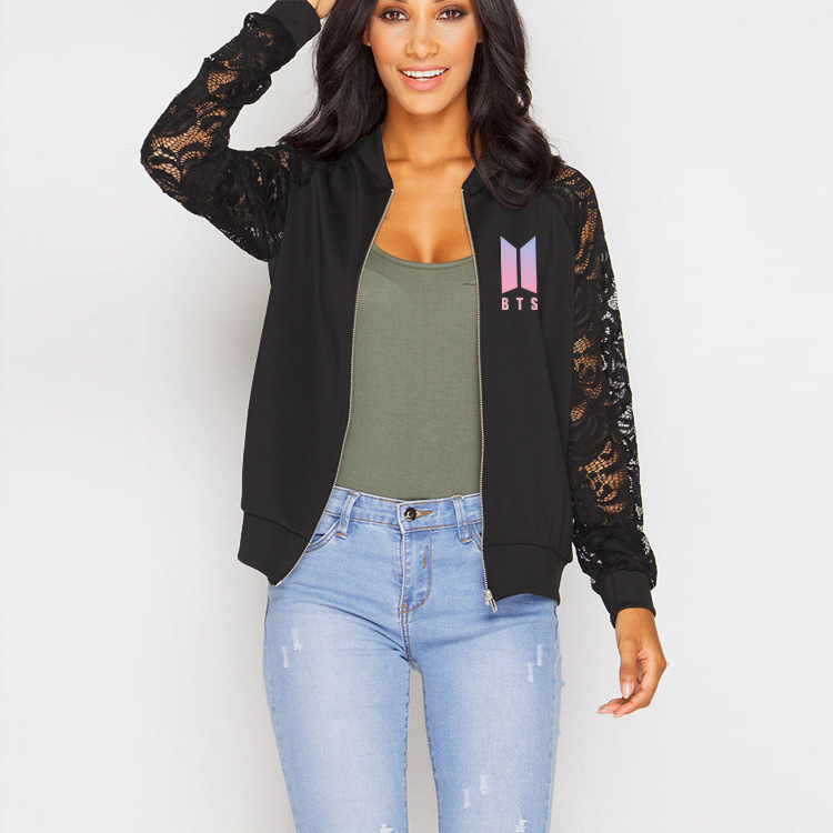 BF Women Zipper Hoodies Sweatshirts Women Kpop 2019 Hip Hop Bangtan Boy Jackets Jimin Love Yourself Answer Clothes Lace Outwear