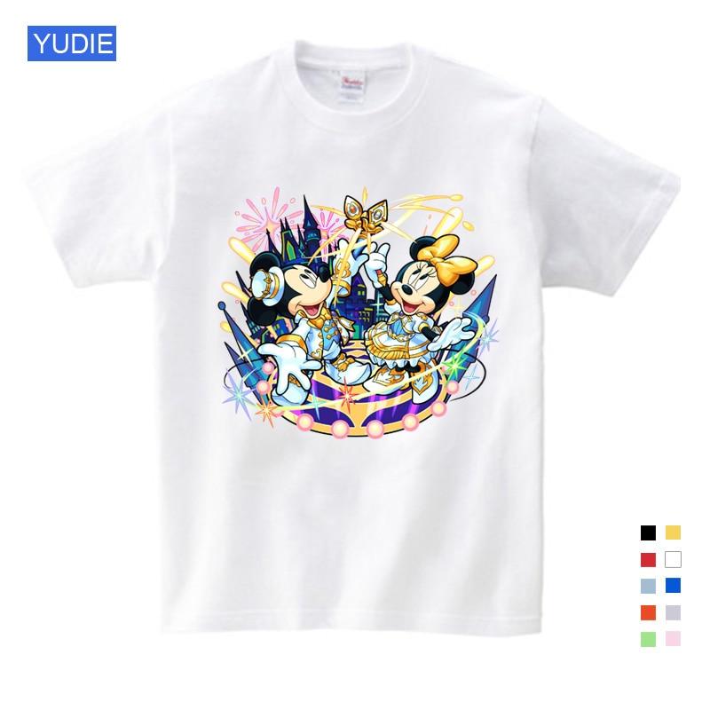 2019 Crianças e Mickey Camisa do Menino/Menina Rato Manga Curta T-shirt do Verão 2019 Das Crianças/Bebê Lazer Camisetas YUDIE