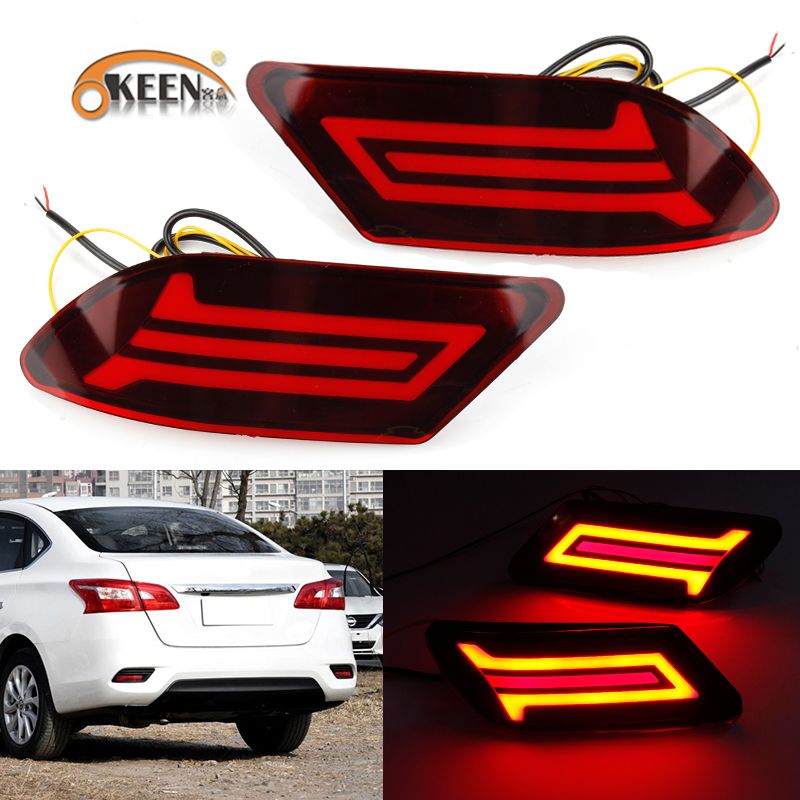 OKEEN For Nissan Sentra 2016 2017 2018 Sylphy LED Rear Bumper Reflector Light with turn signal light Tial fog Brake Light 2pcs fog light lamps kit for nissan bluebird sylphy sentra 2013 2015
