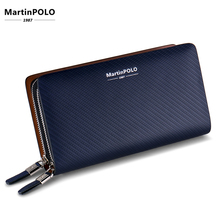 MartinPOLO Mens Long Wallet Male Cow Leather Business Zipper Section Clutch Big Phone Handbag MP2001