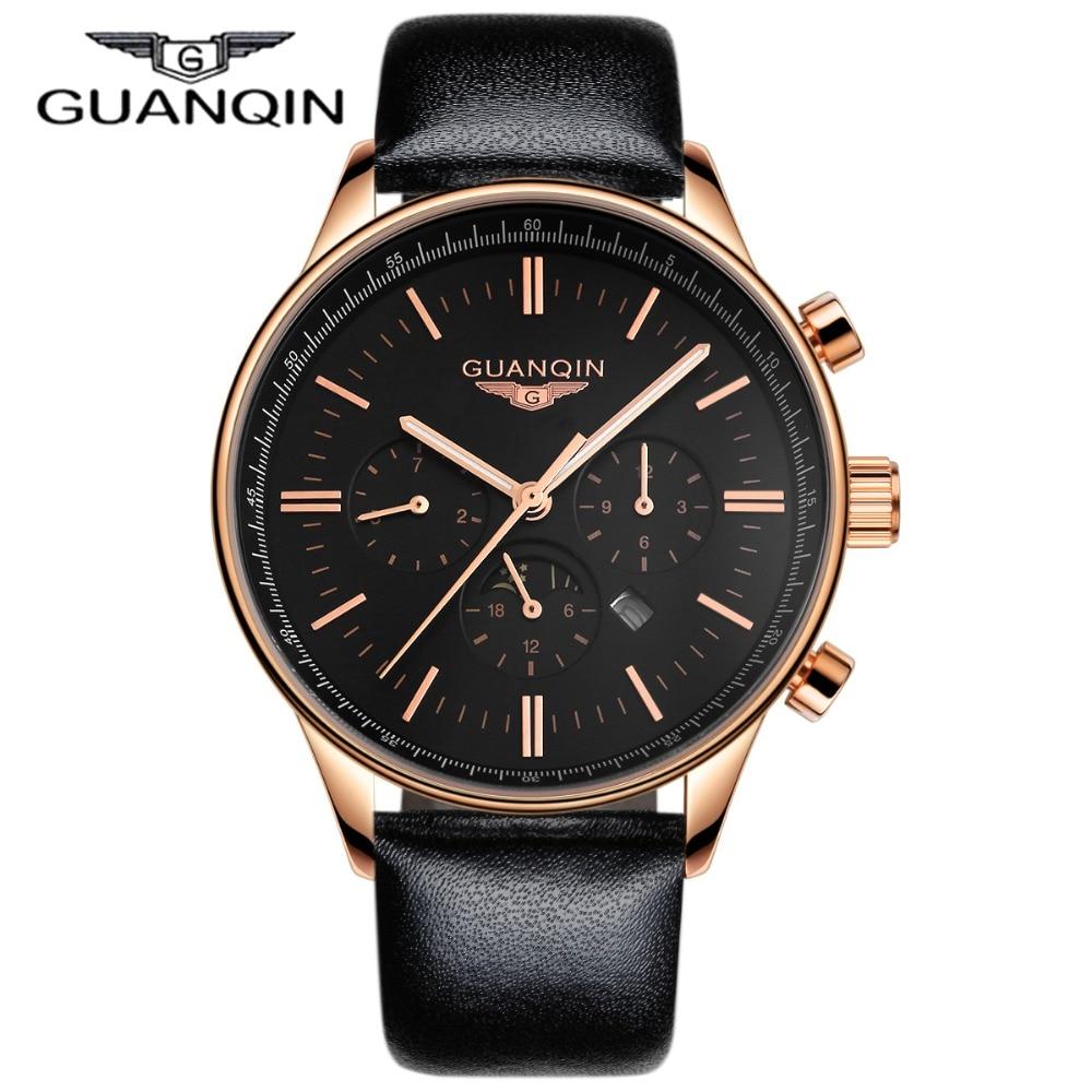 Роскошные GUANQIN часы Для мужчин кварцевые часы водонепроницаемые кожаные часы Для мужчин Элитный бренд золотистый и черный Наручные часы ...