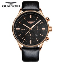 Luxury GUANQIN Watches Men Quartz Watch Waterpoof Leather Watches Men Luxury Brand Gold Black Wristwatches Relogio