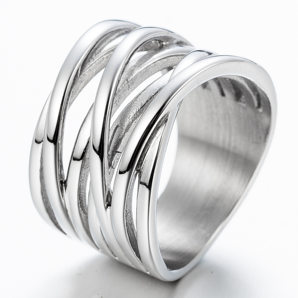 Size 4 12 Stainless Steel Wedding Engagement Ring: Size 4 12 Stainless Steel Twisted Wrap Waved Cocktail