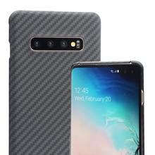 Luksusowa obudowa z włókna węglowego do Samsung Galaxy S10 S10 Plus etui matowe włókno aramidowe 0.7MM Ultra cienkie matowe zamykane pokrowce na telefon