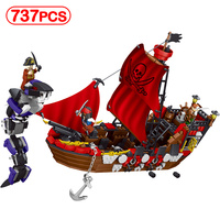 737pcs Pirates Ship Compatible Legoinglys Anime movie character Pirate King's Scramble Model Building Block Toy Kids Sets Gifts