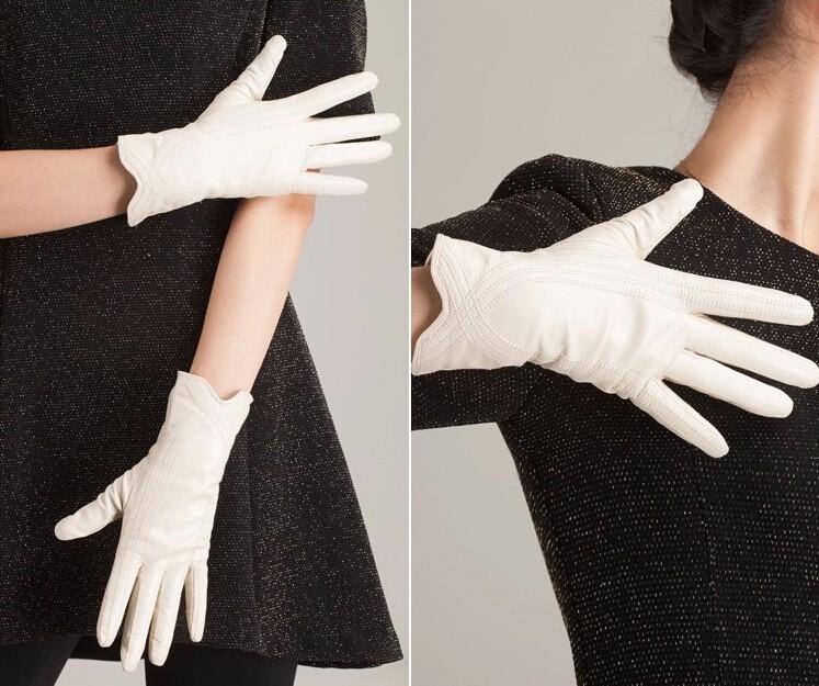 High Quality Women Genuine Sheepskin Winter Women Leather Gloves Lady knitting lined Warm Winter Mittens women gloves 30