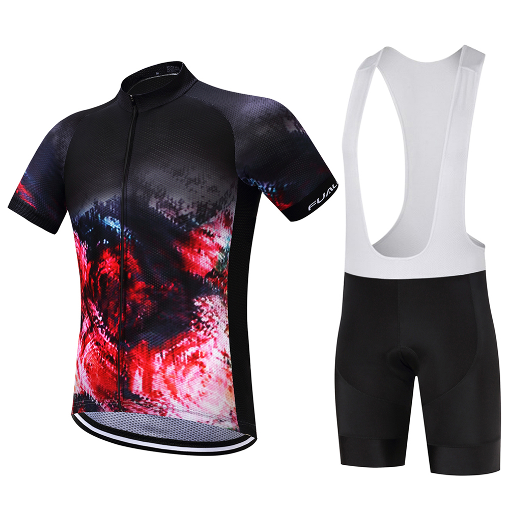 FUALRNY Brand Pro Bicycle Wear Maillot Ropa Ciclismo Short Sleeve Breathable Cycling Jersey <font><b>set</b></font> With Bike Cycling 9D Bib Shorts