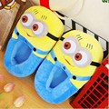 "Despicable Me 2 Plush Stuffed Men's Women's Unisex Slippers Smile Soft Toy Minion 11"" 3D Eyes Adult Shoes Free size fit 34-42"
